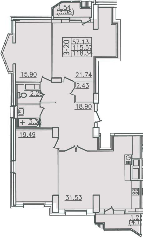 4Е-комнатная, 118.34 м²– 2