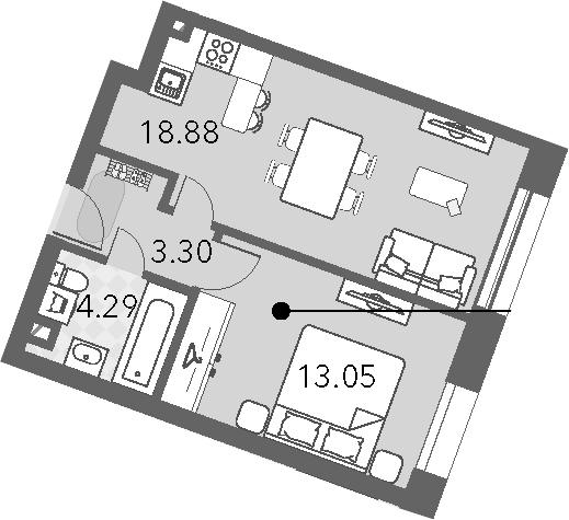 2-к.кв (евро), 39.52 м²