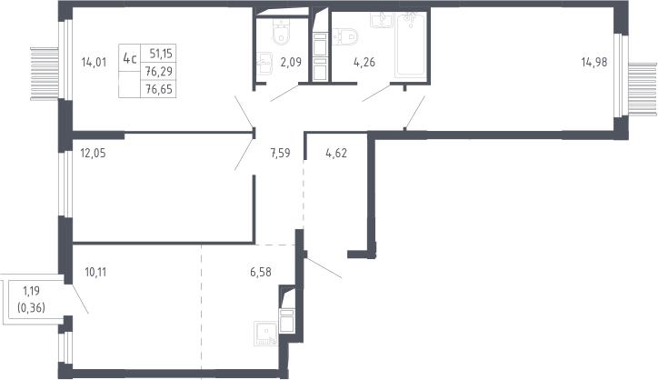 4Е-к.кв, 76.65 м², 17 этаж