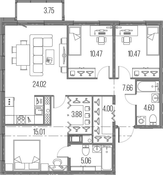 4Е-комнатная, 85.17 м²– 2