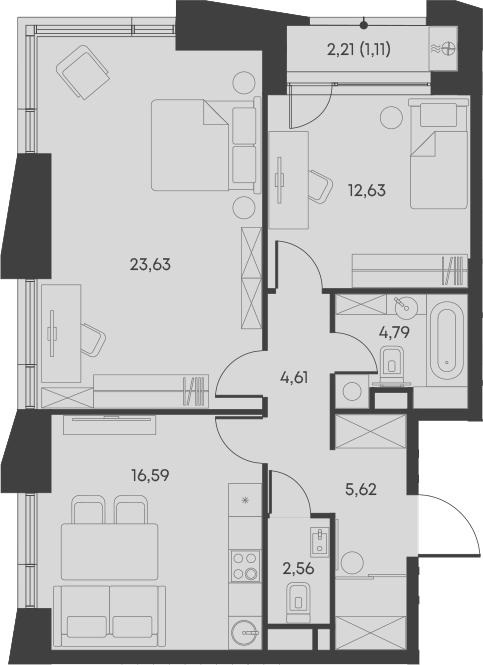 2-комнатная, 74.54 м²– 2