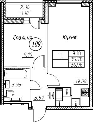 2Е-к.кв, 36.96 м², 21 этаж