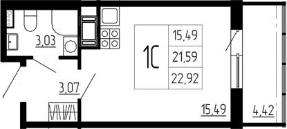Студия, 26.01 м²