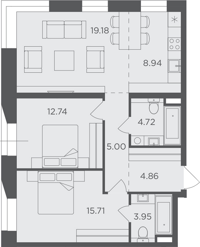 3Е-к.кв, 75.1 м², 3 этаж