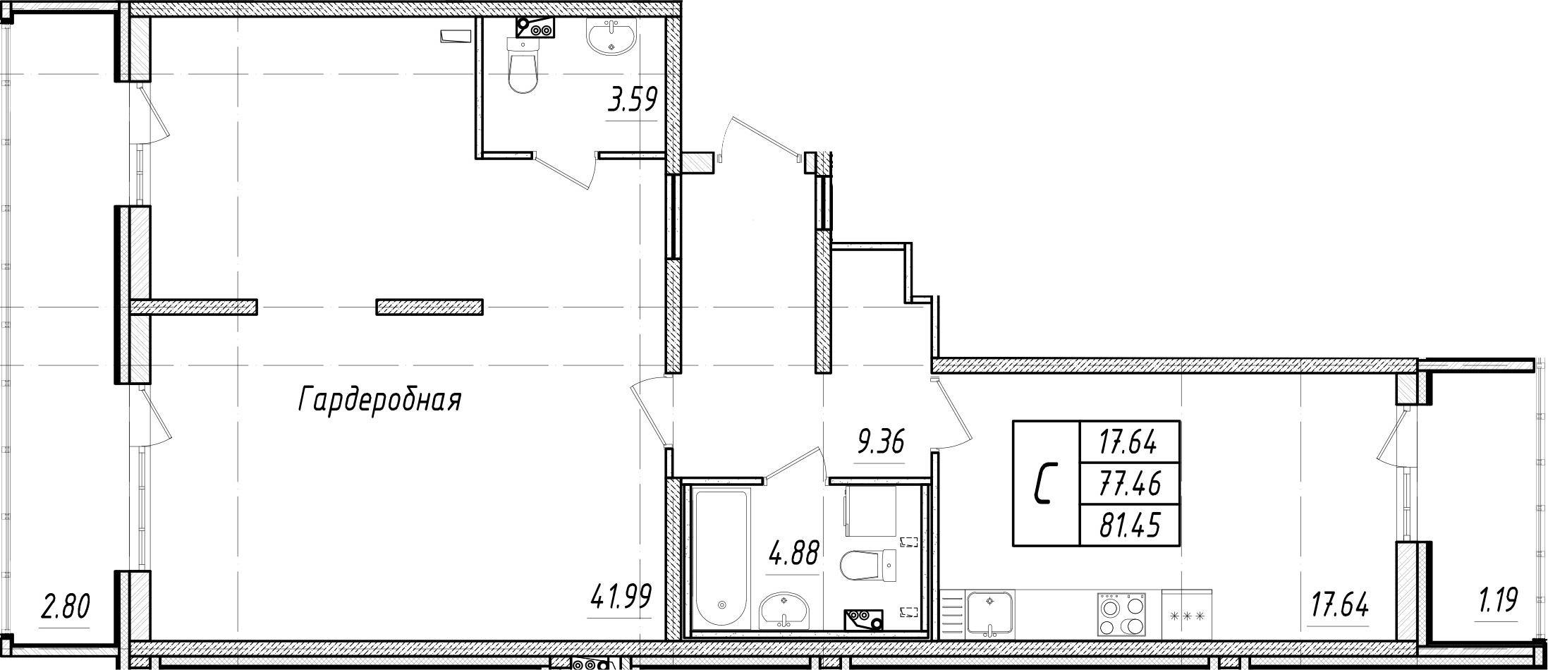 Студия, 90.76 м²