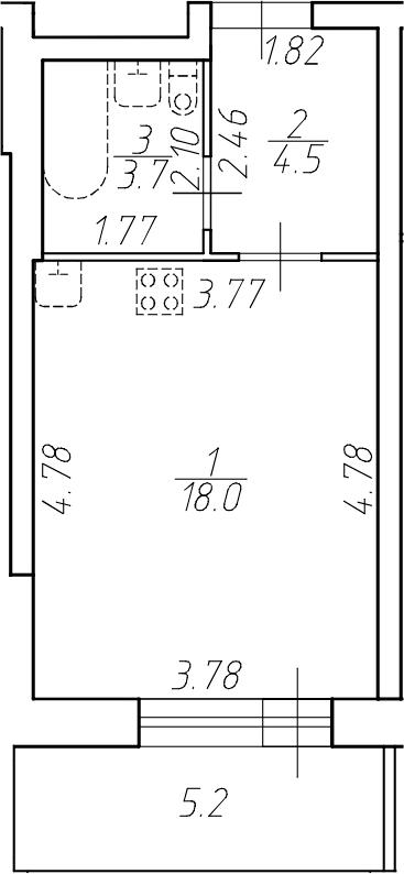 Студия, 26.2 м²