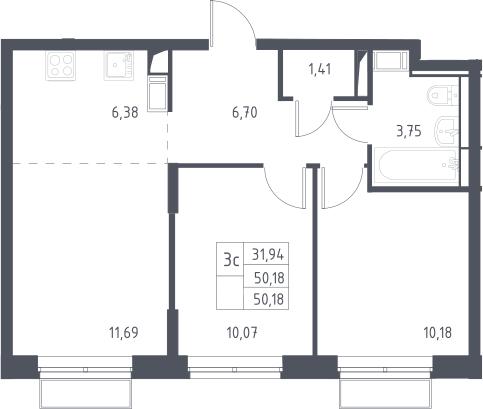 3Е-комнатная, 50.18 м²– 2