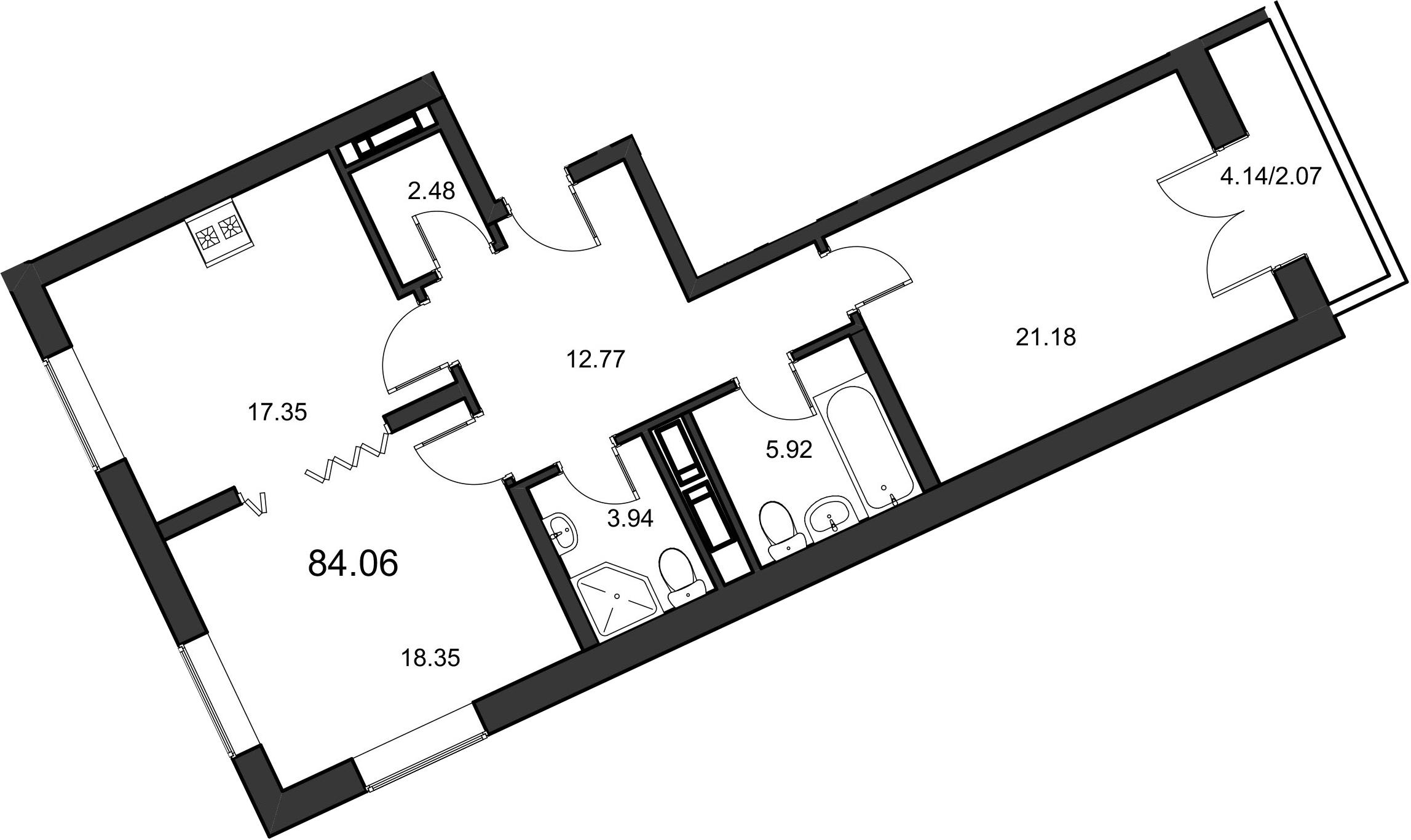 2-к.кв, 83.7 м²