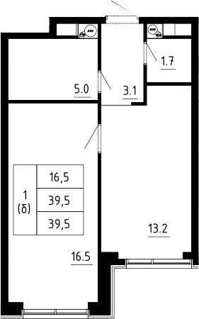 1-к.кв, 39.5 м², 9 этаж