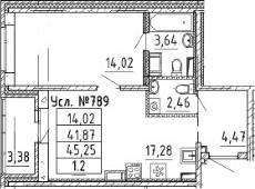2-к.кв (евро), 45.77 м²