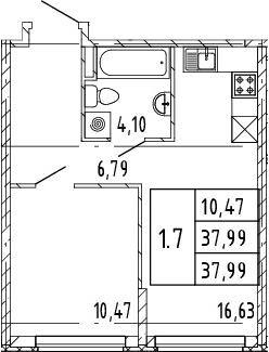 2Е-комнатная, 37.99 м²– 2