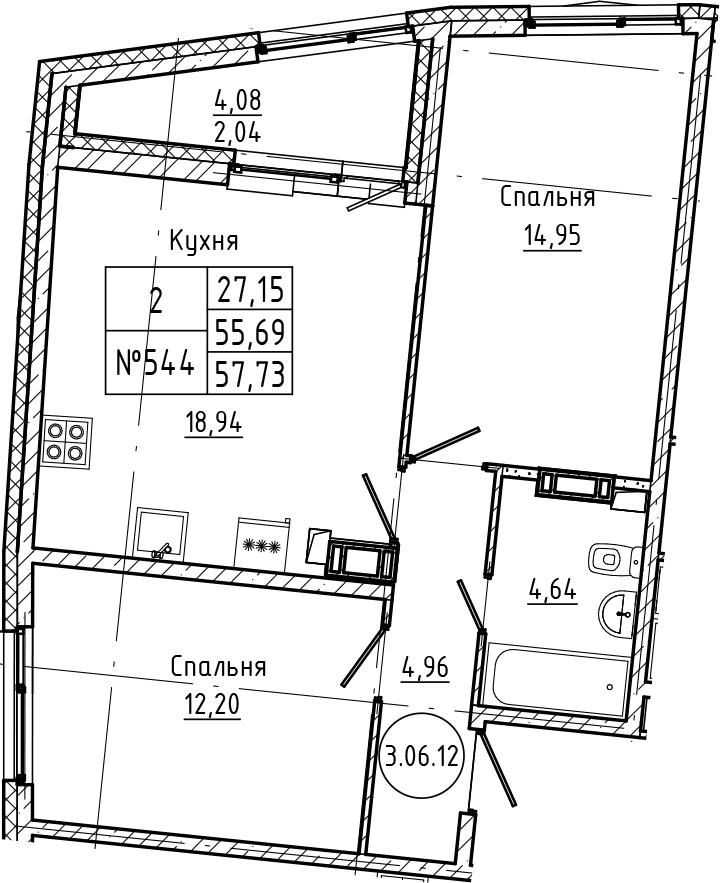 3Е-комнатная, 57.73 м²– 2