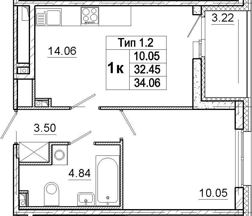 2-к.кв (евро), 35.67 м²