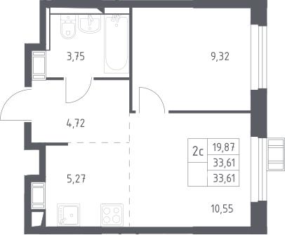 2Е-к.кв, 33.61 м², 15 этаж