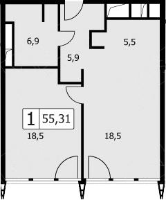 2-к.кв (евро), 52.4 м²