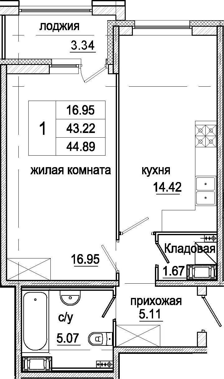 1-к.кв, 44.89 м²