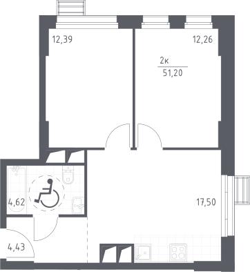 3Е-к.кв, 51.2 м², 23 этаж