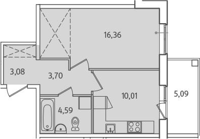 1-комнатная, 40.29 м²– 2