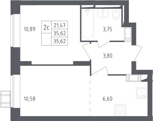 2Е-комнатная, 35.62 м²– 2