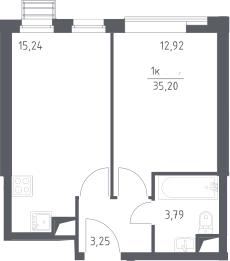 2Е-к.кв, 35.2 м², 2 этаж