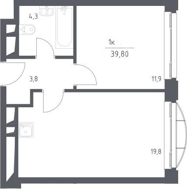 2Е-к.кв, 39.8 м², 23 этаж
