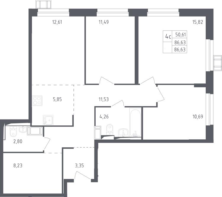 4Е-к.кв, 86.63 м², 15 этаж