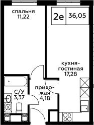 2Е-к.кв, 36.05 м², 21 этаж