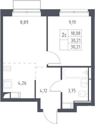 1-к.кв, 30.21 м²