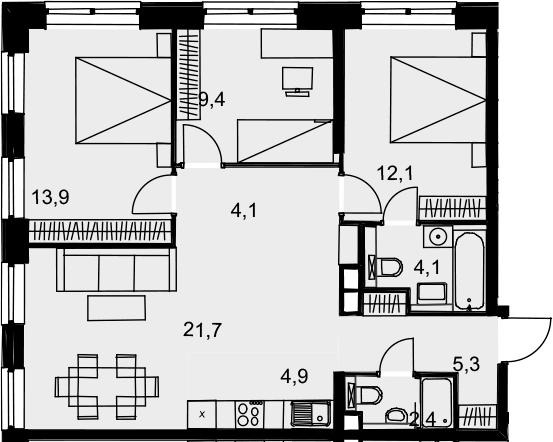 4Е-к.кв, 77.9 м², 11 этаж