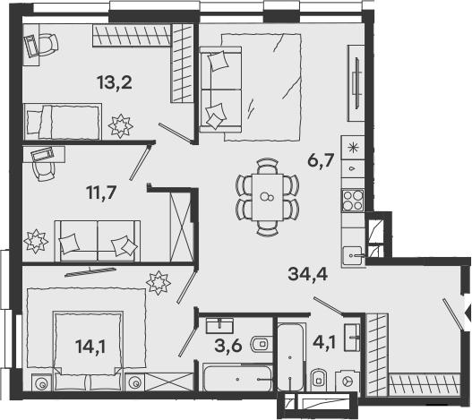 4-к.кв (евро), 87.8 м²