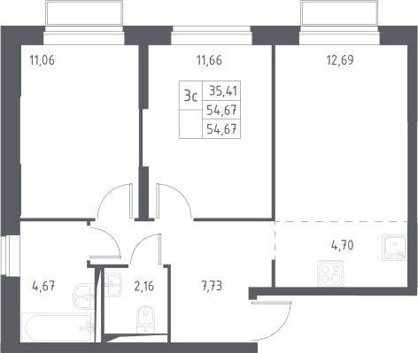 3Е-к.кв, 54.67 м², 2 этаж