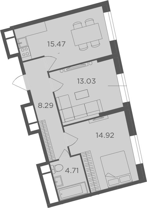 3Е-к.кв, 56.42 м², 18 этаж