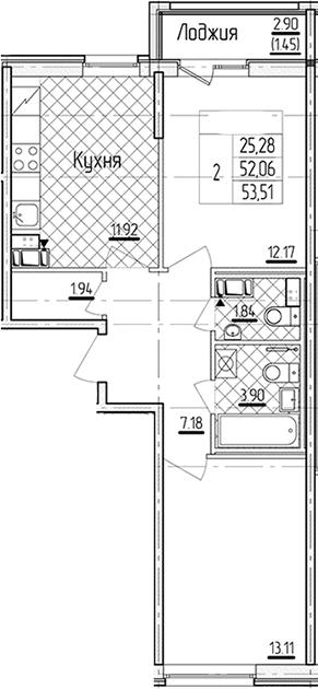 2-к.кв, 53.51 м²