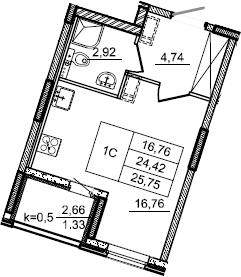 Студия, 25.75 м², 2 этаж – Планировка