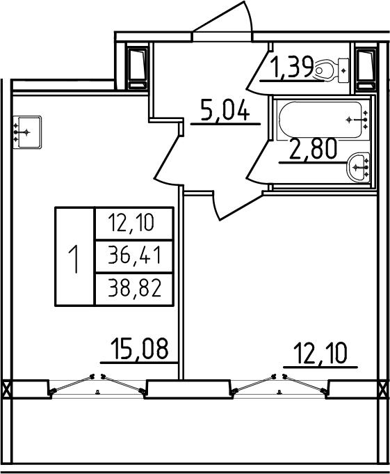 2-к.кв (евро), 44.44 м²