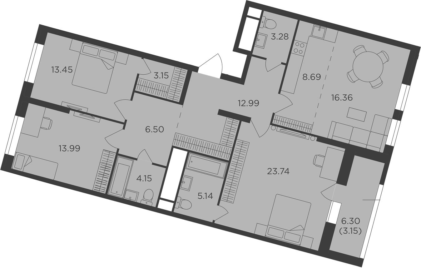 4Е-к.кв, 114.59 м², 25 этаж