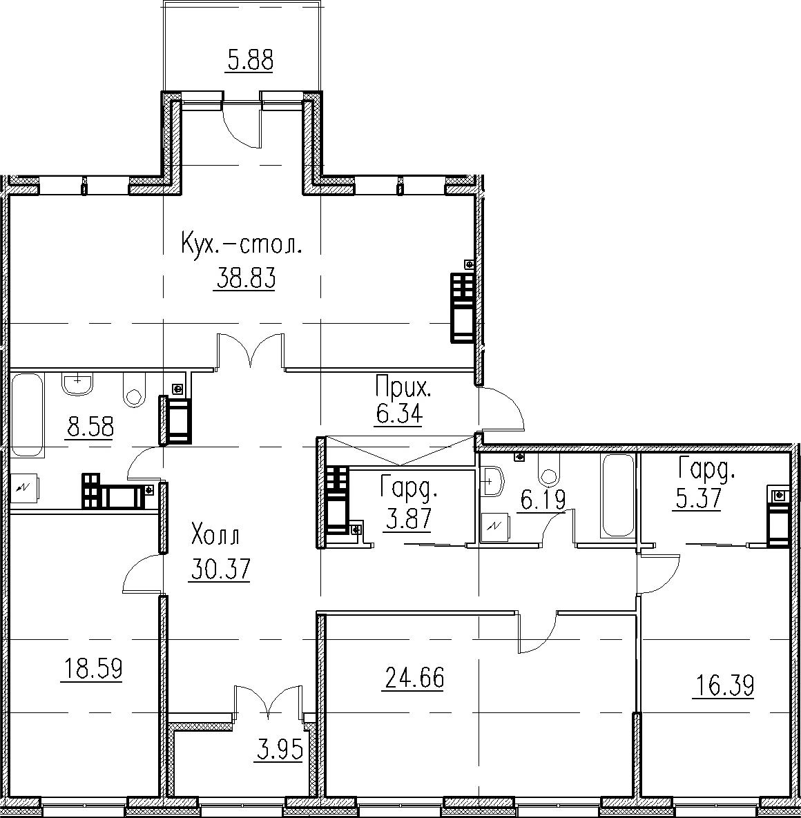 4Е-к.кв, 159.19 м², 8 этаж