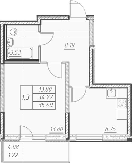 1-к.кв, 38.35 м²