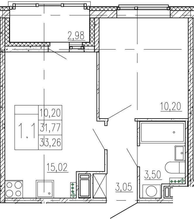 2-к.кв (евро), 34.75 м²