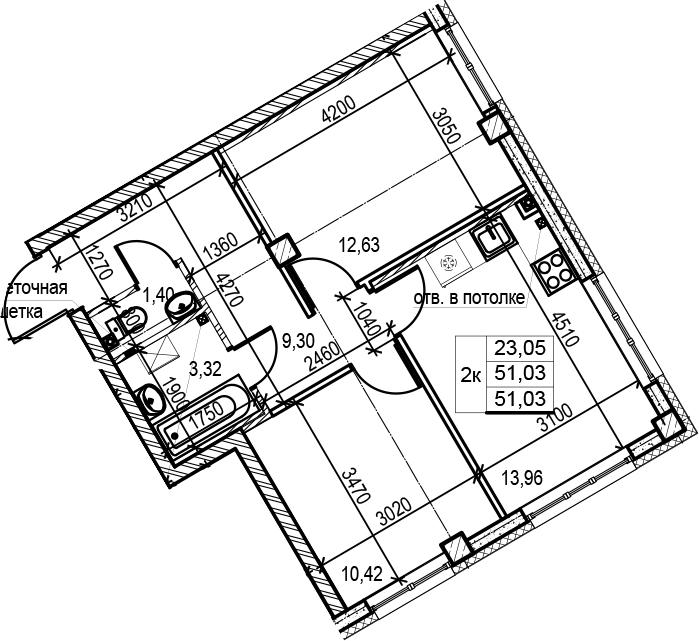 2-к.кв, 51.03 м²