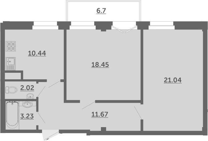 2-к.кв, 68.9 м², 2 этаж
