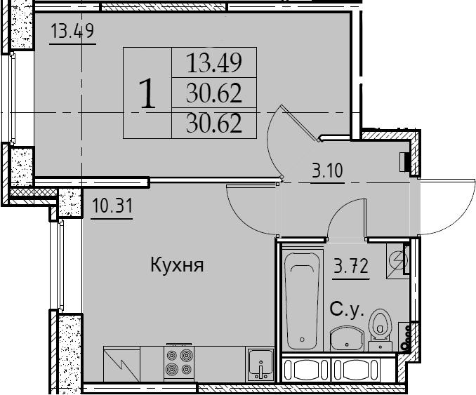 1-комнатная, 30.62 м²– 2