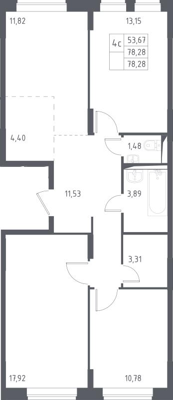 4Е-комнатная, 78.28 м²– 2