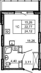 Студия, 24.12 м², 2 этаж – Планировка