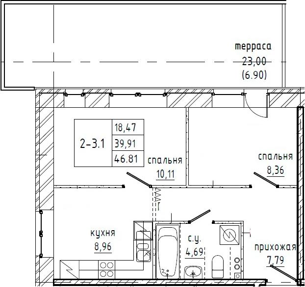 2-к.кв, 62.91 м²