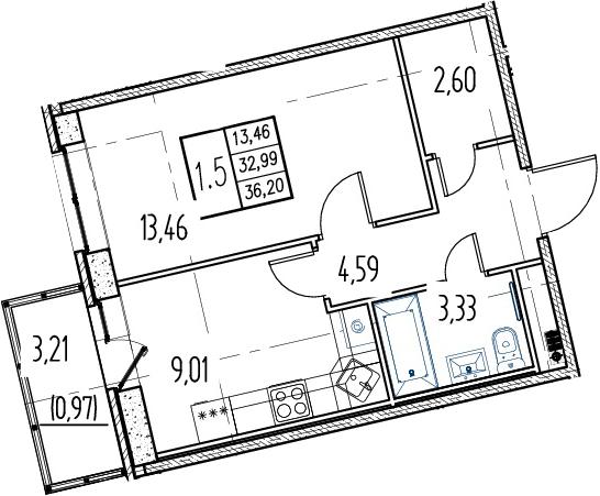 1-комнатная квартира, 32.99 м², 9 этаж – Планировка