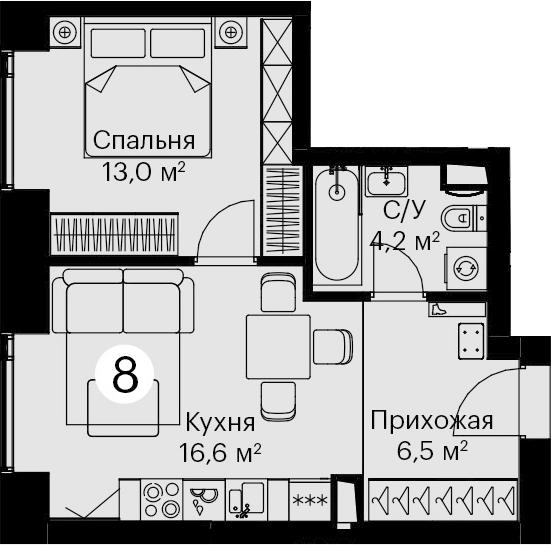 2-к.кв (евро), 40.3 м²
