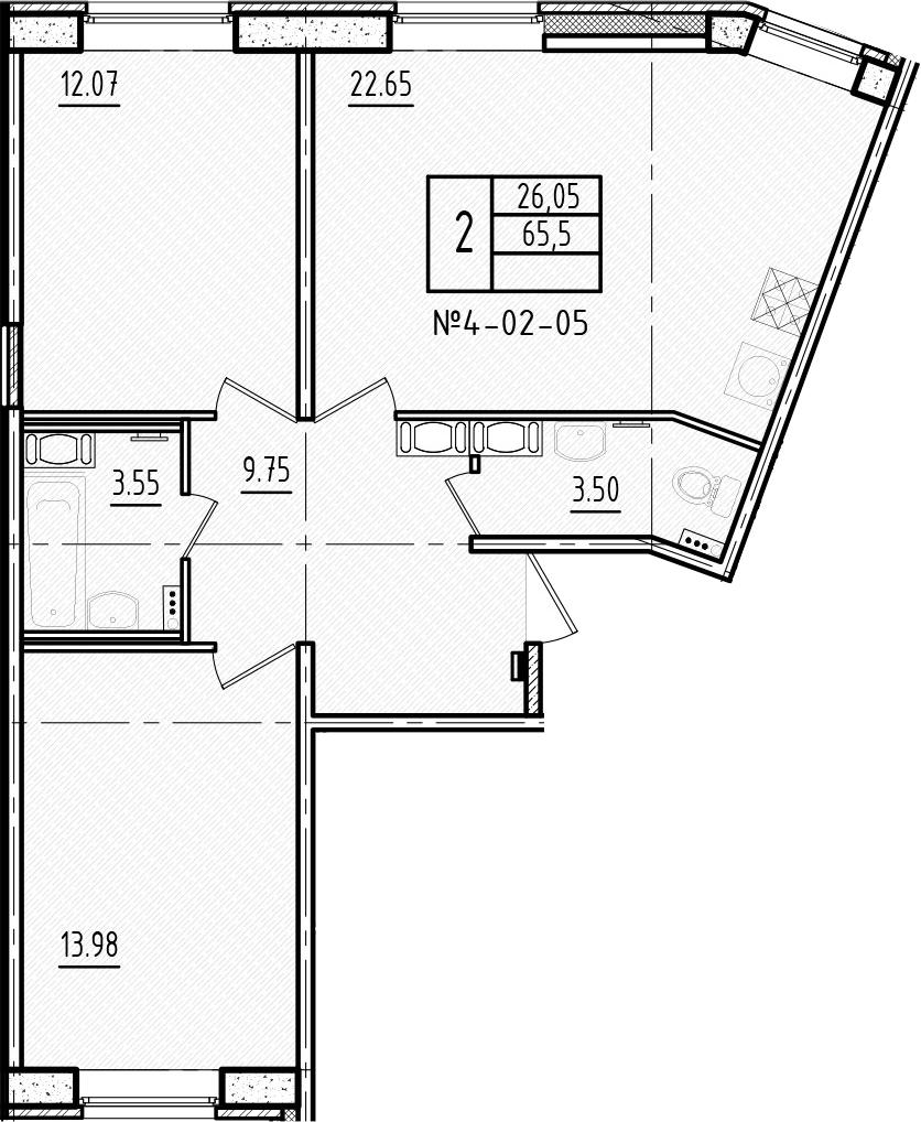 3Е-комнатная, 65.5 м²– 2