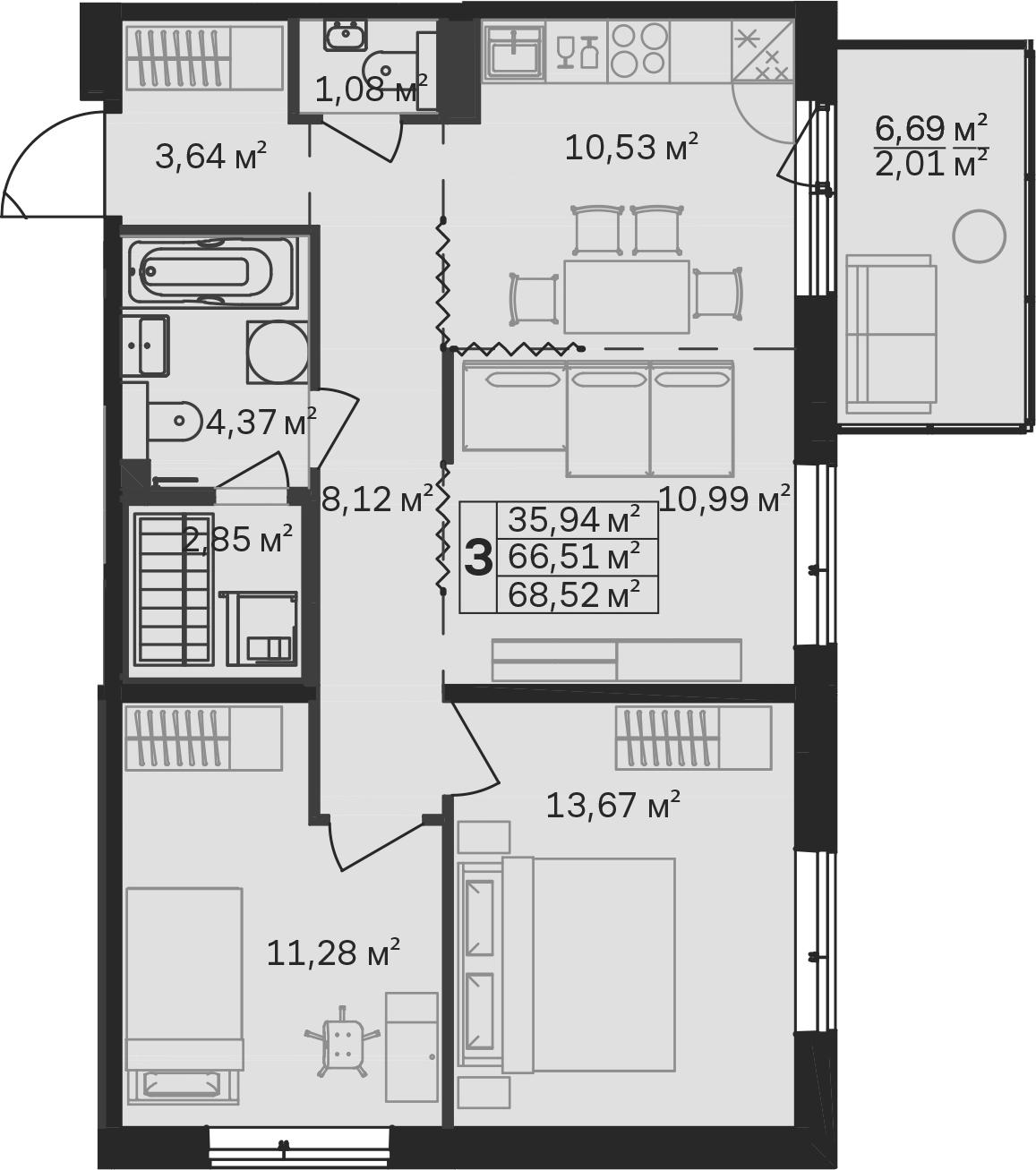 3-к.кв (евро), 73.21 м²