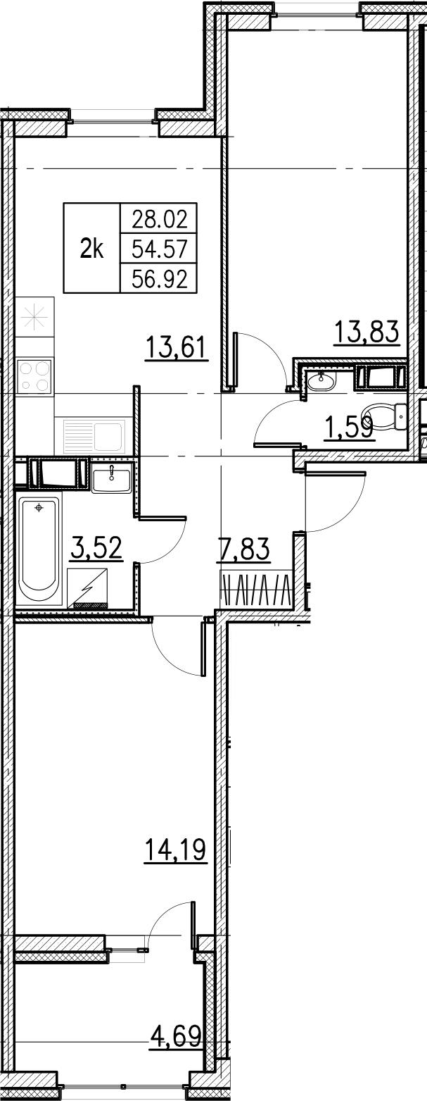 2-комнатная, 56.92 м²– 2